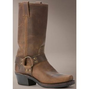 Frye Rough Brown Leather Square Toe Horse Bit Boot
